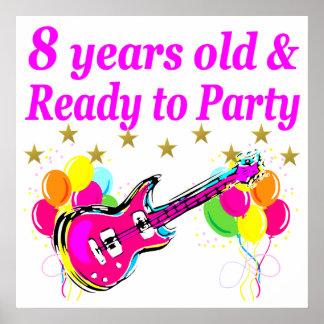 8TH BIRTHDAY ROCK STAR ROCK N ROLL DESIGN POSTER