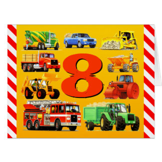 8th Birthday Trucks Big Greeting Card