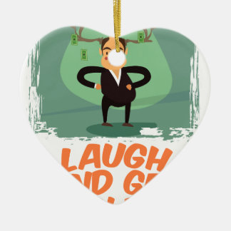8th February - Laugh And Get Rich Day Ceramic Heart Decoration