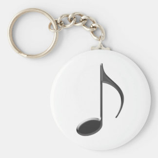 8th Music Note Black Key Ring
