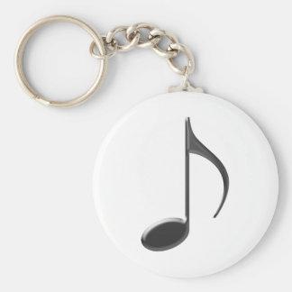 8th Music Note Black Key Ring