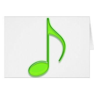 8th Note Large Glass Lime Green Musical Note Card