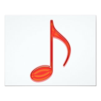 8th Note Large Red Plastic 2010 11 Cm X 14 Cm Invitation Card