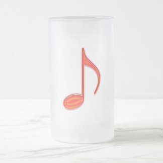 8th Note Large Red Plastic 2010 Frosted Glass Beer Mug