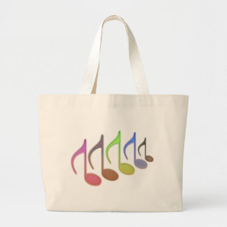 8th Notes Reversed Small Multi-colored Large Tote Bag