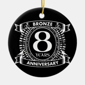 8TH wedding anniversary bronze Ceramic Ornament