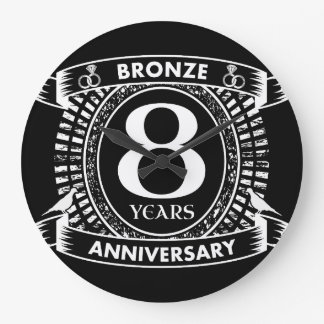 8TH wedding anniversary bronze Large Clock