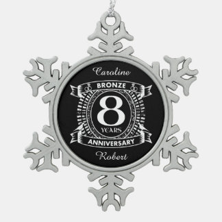 8TH wedding anniversary bronze Snowflake Pewter Christmas Ornament