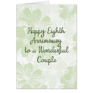 8th Wedding Anniversary Card Green Flowers