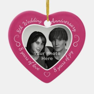 8th Wedding Anniversary Photo Ceramic Heart Decoration
