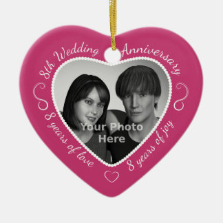 8th Wedding Anniversary Photo Ceramic Ornament