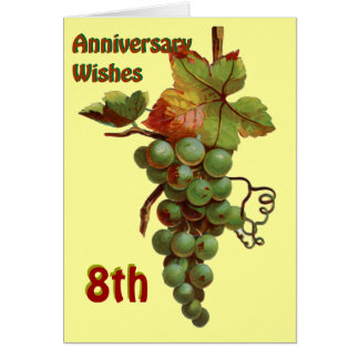 8thAnniversary wishes, customiseable Greeting Card