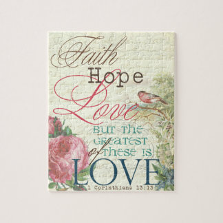 8x10 Faith Hope Love Puzzle with Gift Box