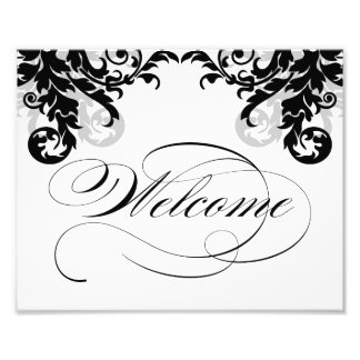8x10 Flourish Wedding Welcome Sign for Framing