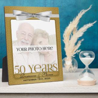 8x10 Golden 50th Wedding Anniversary Photo Frame Display Plaque