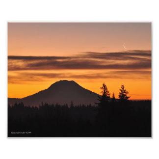 8X10 Mount Rainier and the Crescent Moon Photo Print
