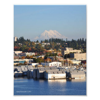 8X10 Mount Rainier from Downtown Olympia Photo Print