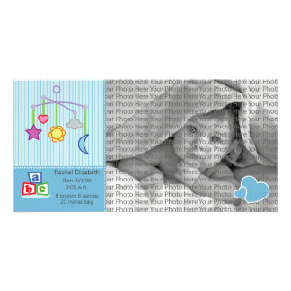 8x4 Birth Photo Announcement Blue Hearts Personalised Photo Card