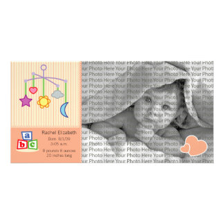 8x4 Birth Photo Announcement Peach Hearts Personalised Photo Card