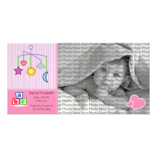 8x4 Birth Photo Announcement Pink Hearts Photo Card Template