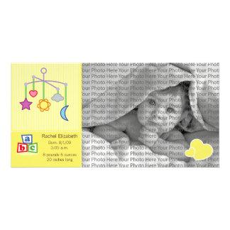 8x4 Birth Photo Announcement Yellow Hearts Photo Card Template