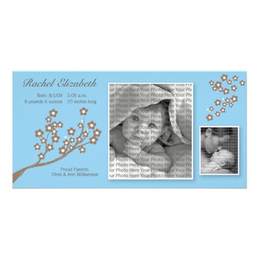 8x4 Branch Design Birth Announcement Blue/Brown Personalized Photo Card