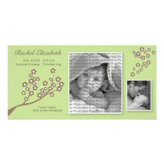 8x4 Branch Design Birth Announcement Green/Brown Custom Photo Card