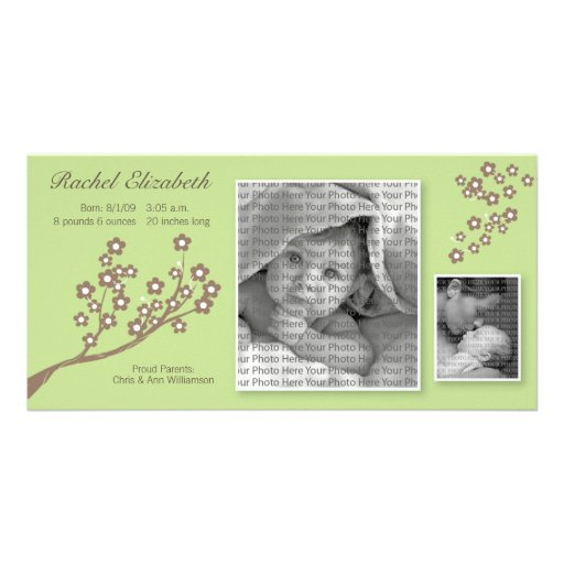 8x4 Branch Design Birth Announcement Green/Brown Photo Card Template