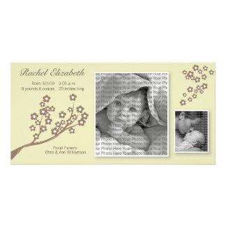 8x4 Branch Design Birth Announcement Khaki/Brown Photo Card
