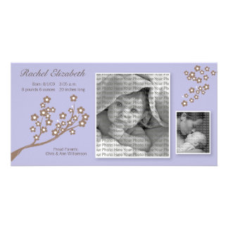 8x4 Branch Design Birth Announcement Purple/Brown Customised Photo Card