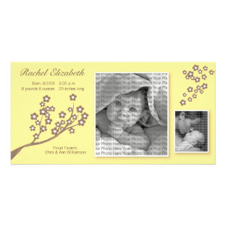 8x4 Branch Design Birth Announcement Yellow/Brown Picture Card