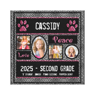 8x8 School Year Photo Collage in Silver Cheetah Canvas Print
