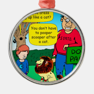 901 Why is dog dressed like a cat cartoon Metal Ornament