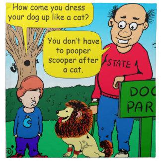 901 Why is dog dressed like a cat cartoon Napkin