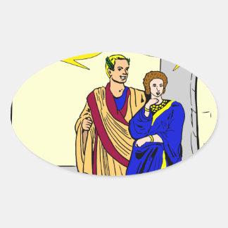 """902 Caesar """"I'll make a salad"""" cartoon Oval Sticker"""