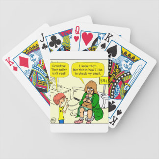 903 Grandma is checking email cartoon Bicycle Playing Cards
