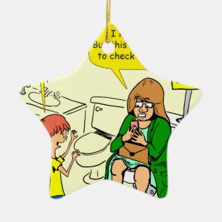 903 Grandma is checking email cartoon Ceramic Ornament