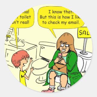 903 Grandma is checking email cartoon Classic Round Sticker