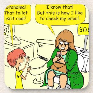 903 Grandma is checking email cartoon Coaster