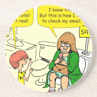 903 Grandma is checking email cartoon Coaster