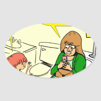 903 Grandma is checking email cartoon Oval Sticker