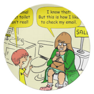 903 Grandma is checking email cartoon Plate