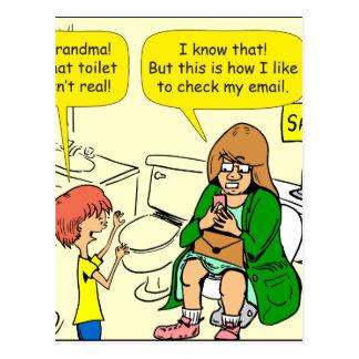 903 Grandma is checking email cartoon Postcard