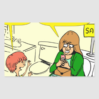 903 Grandma is checking email cartoon Rectangular Sticker
