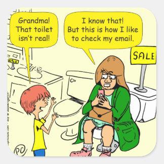 903 Grandma is checking email cartoon Square Sticker
