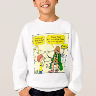 903 Grandma is checking email cartoon Sweatshirt