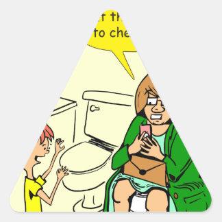 903 Grandma is checking email cartoon Triangle Sticker