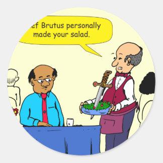 904 Chef Brutus made the salad cartoon Classic Round Sticker