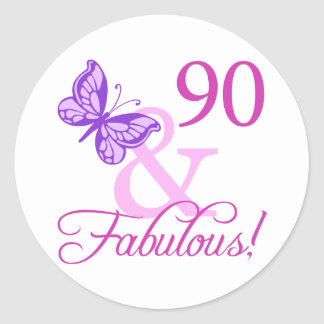 90 And Fabulous Birthday Gifts (Plum) Round Sticker