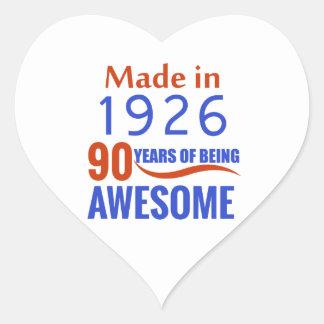 90 birthday design heart sticker